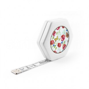 Сантиметр автоматический двусторонний белый с магнитом