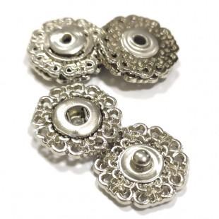 Набір кнопок ажурних срібних металевих 18 мм