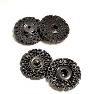 Набор кнопок ажурных черных металлических 20 мм