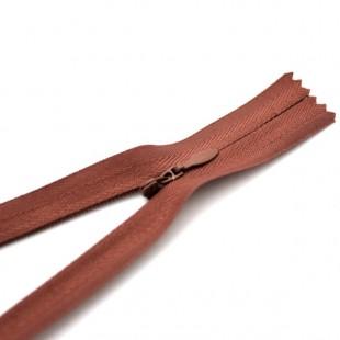 Молния потайная неразъемная 18 см красно-коричневая №040
