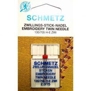 Голка подвійна Schmetz Embroidery №75/2.0